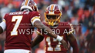 Washington Football Team Week 2 Highlights (30-15 Loss Vs Cardinals)