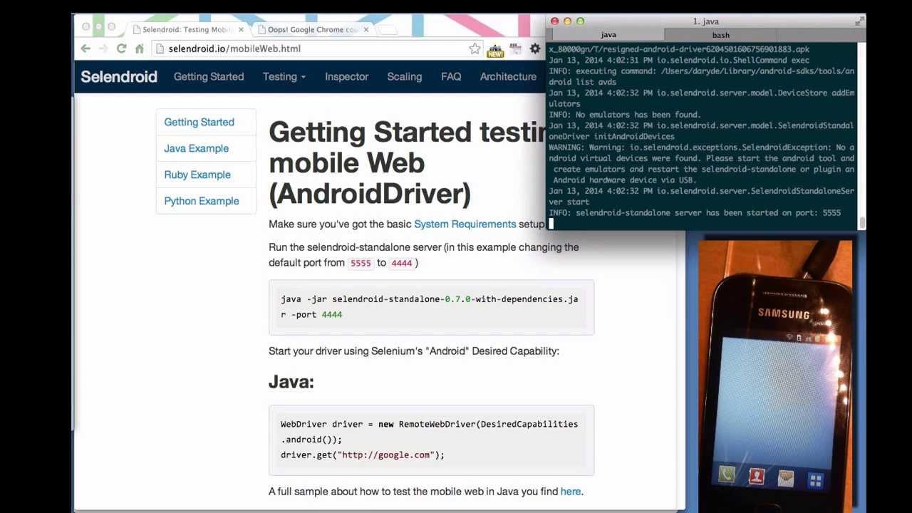 Selendroid: Testing Mobile Web