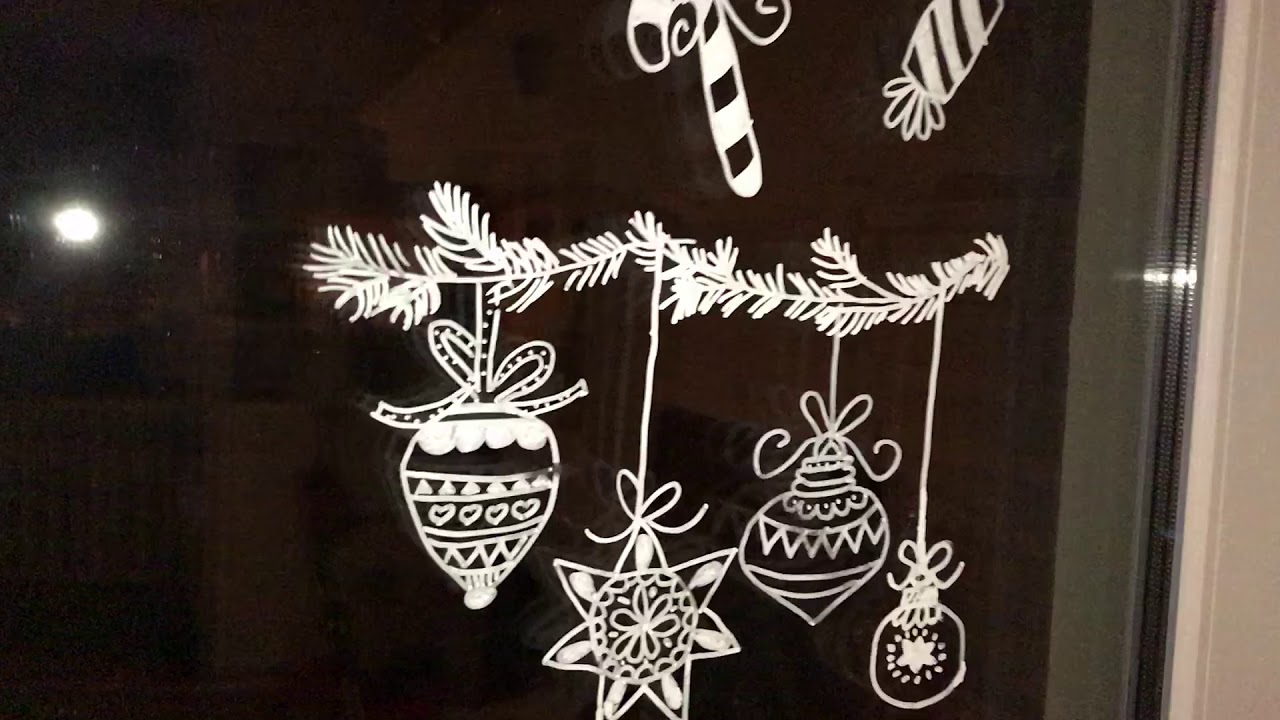 Weihnachtsbilder Mit Licht.Fensterdeko Mit Flüssigkreide Kreidestift Weihnachtsmotive