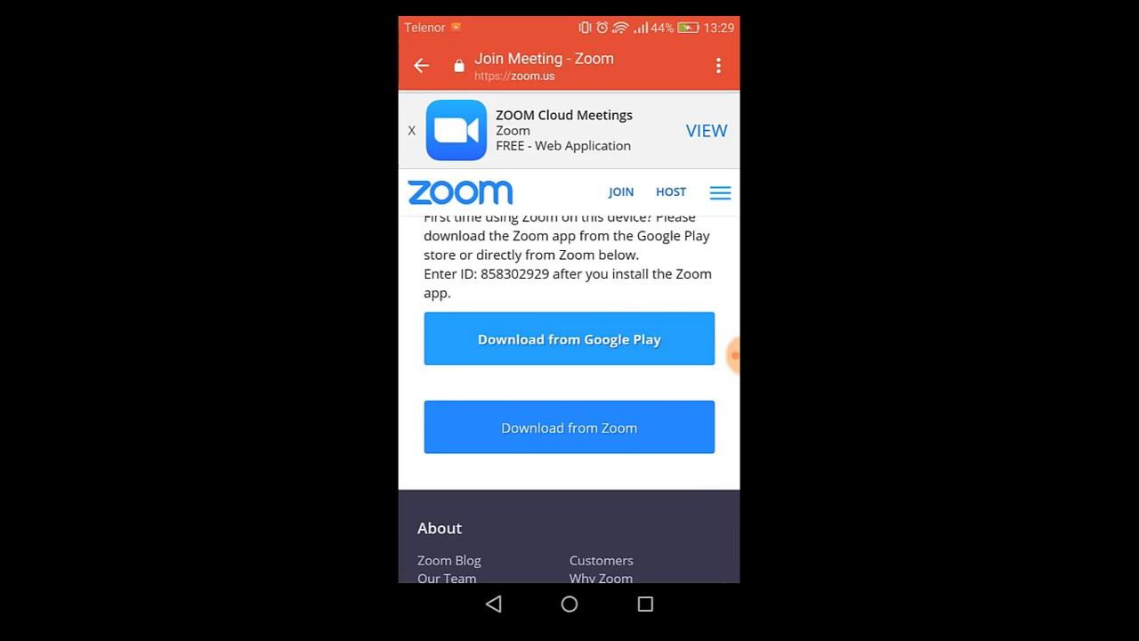 Kako pratiti Zoom webinar na mobilnom telefonu (Android