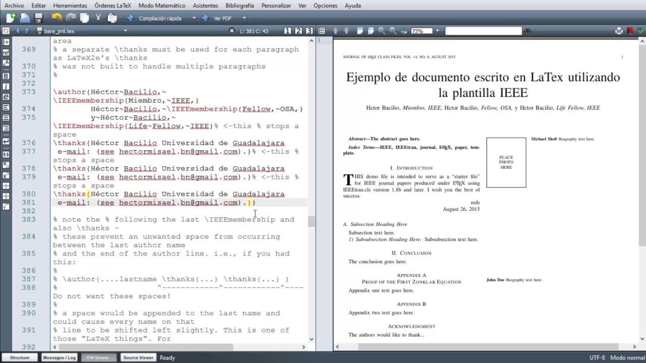 LaTeX texmaker Tutorial 11 - Artículo formato IEEE journal elementos ...