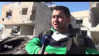 دمشق - حي القابون  الثوار يدمرون عربة ودبابة للنظام بصاروخ موجه