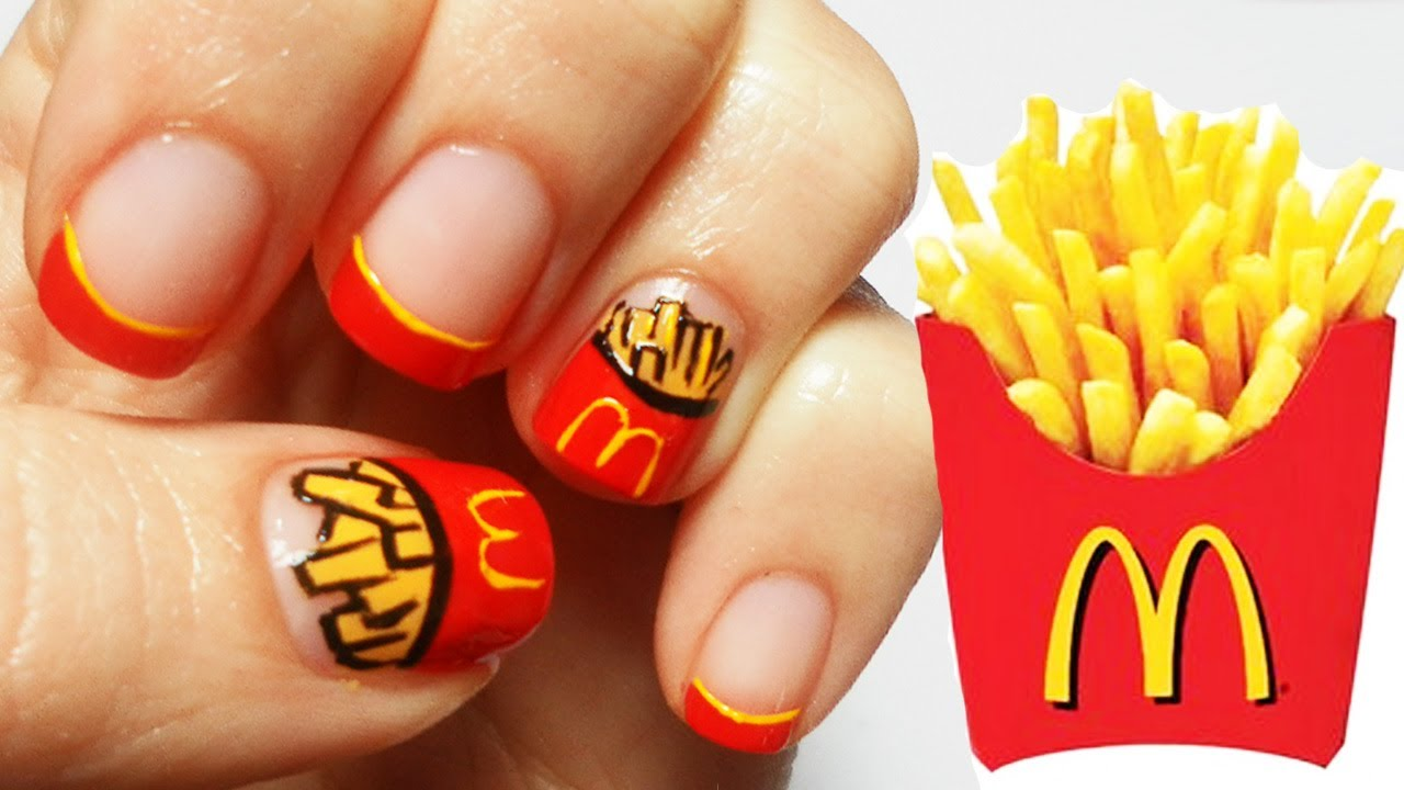 mcdonald's chips nail art tutorial