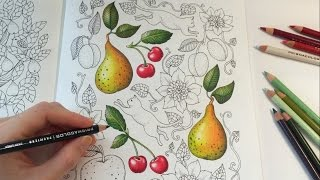 CHERRY DRAWING / COLORING WITH COLORED PENCILS | Blomstermandala Coloring Book