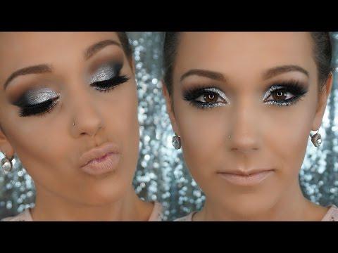 SEXY NEW YEARS EVE MAKEUP| Silver Glittery Smokey Eye| Sparkly