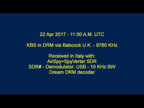 KBS World Radio DRM 9760 KHz - 22 April 2017