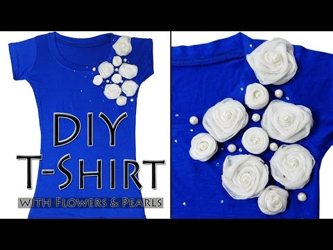 How to make designer T-shirt - DIY T-shirt with Flowers & Pearls (Hindi)