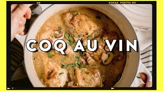 Comfort French Chicken Stew with White Wine - Simple Coq Au Vin Recipe | HONEYSUCKLE