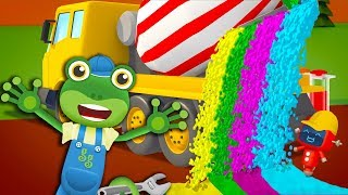 Gecko's Rainbow Mixer Truck Playground | Learn Colors | Gecko's Garage | Learning Videos For Kids