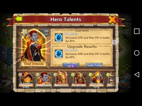 Upgrading (Vlad's) Talent To A 7/8 BULWARK-Castle Clash