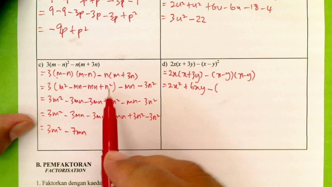 Permudahkan Ungkapan Algebra Jawapan D Youtube