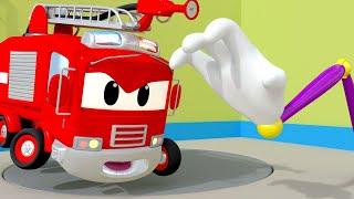 Araba Devriyesi - Lily OTOBÜS Oto Yıkama sıkışıp - Devriye Aracı araba şehrinde 🚓 🚒 Çocuklar için