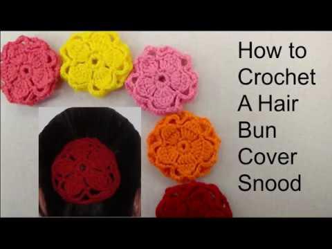 Flower Hair Bun Cover Snood How To Crochet A Hair Bun Cover Size