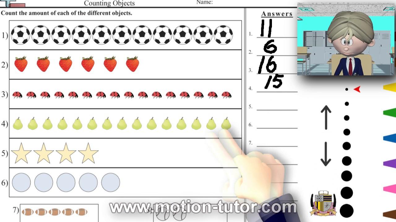 kindergarten math counting objects worksheet 2 youtube. Black Bedroom Furniture Sets. Home Design Ideas