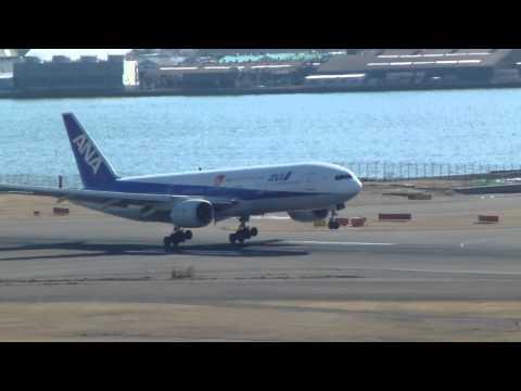 ANA airplane landing at Haneda Airport Tokyo Japan