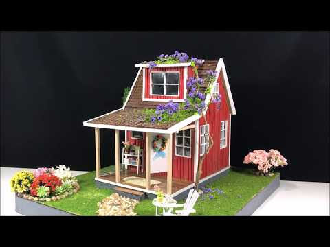 DIY Cardboard Box Tiny Red House Garden