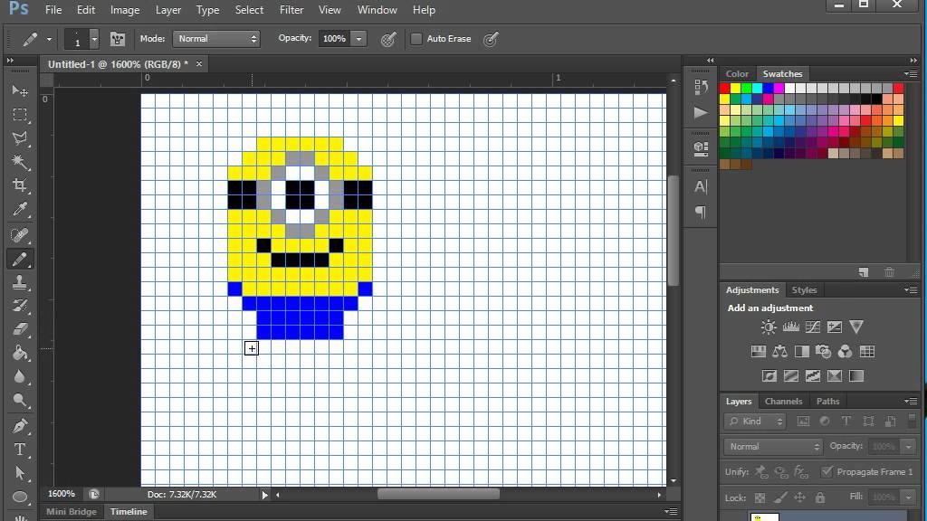 วาด pixel art Minion ด้วย photoshop