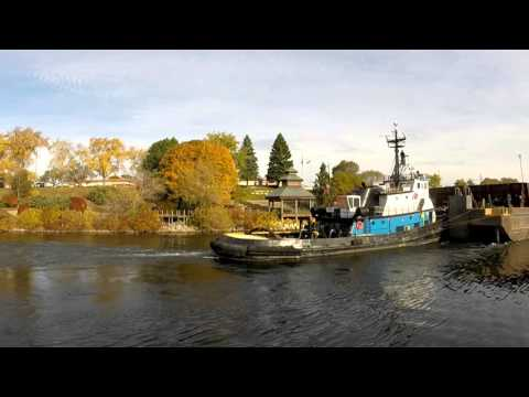John Marshall tug and barge Lake Trader to pick up logs in manistee mi.