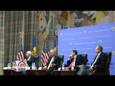 Conference with U.S senators John McCain, John Barrasso, John Hoeven and Ron Johnson in Moldova
