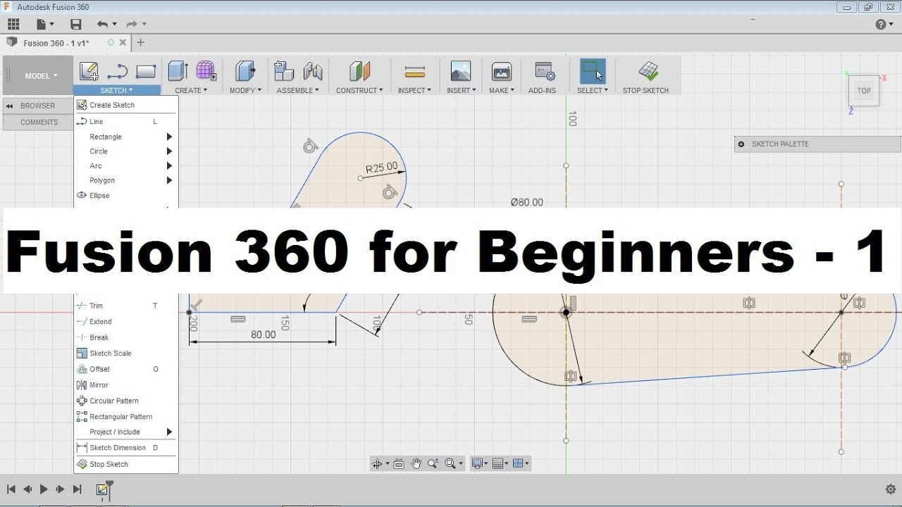 Fusion 360 Tutorial for Beginners - 1 | Fusion 360 Sketch Basics Tutorial