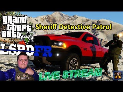 Dodge Ram Rebel 4x4 Sheriff Detective Patrol in Snow GTA 5 LSPDFR Live Stream 37