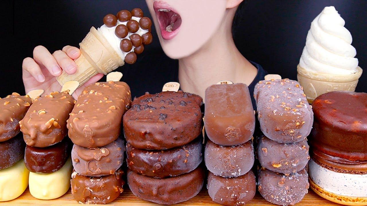 ASMR MALTESERS MAGNUM CHOCOLATE ICE CREAM NUTELLA DESSERT MUKBANG 초콜릿 아이스크림 먹방 チョコレート EATING SOUNDS