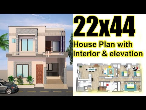 22x44 House plan with interior & Elevation (complete)