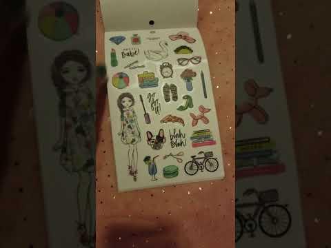 Agenda 52 watercolor girls sticker book flip threw