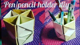 Make Pen/pencil holder out of invitation cards//reuse idea