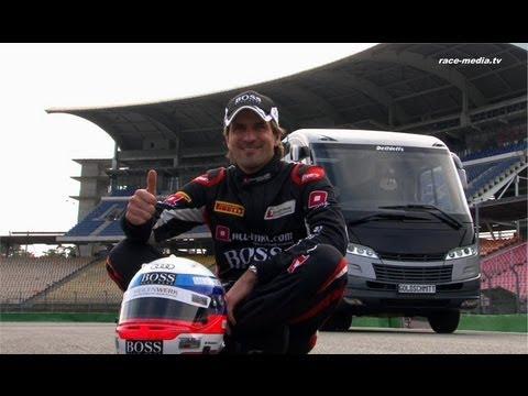 FIA GT1 Weltmeister 2012 Markus Winkelhock testet hydropneumatisches Fahrwerk von Goldschmitt