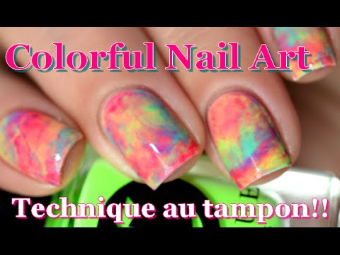 Nail art colorful au tampon marble effect nails using a nail art colorful au tampon marble effect nails using a stamper melyne nailart youtube prinsesfo Choice Image