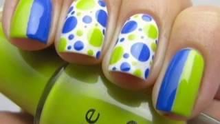 дизайн ногтей салатовый тон