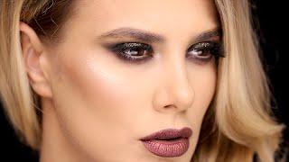 Glittery Smokey Eyes & Metallic Lips | Ali Andreea