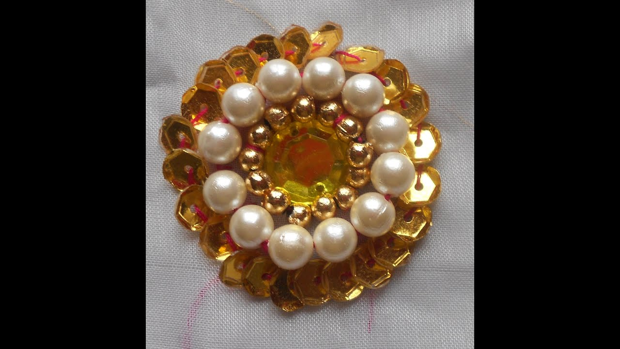 HOW TO SEW A KUNDAN Amp PEARL BEADED SEQUINED FLOWER  YouTube