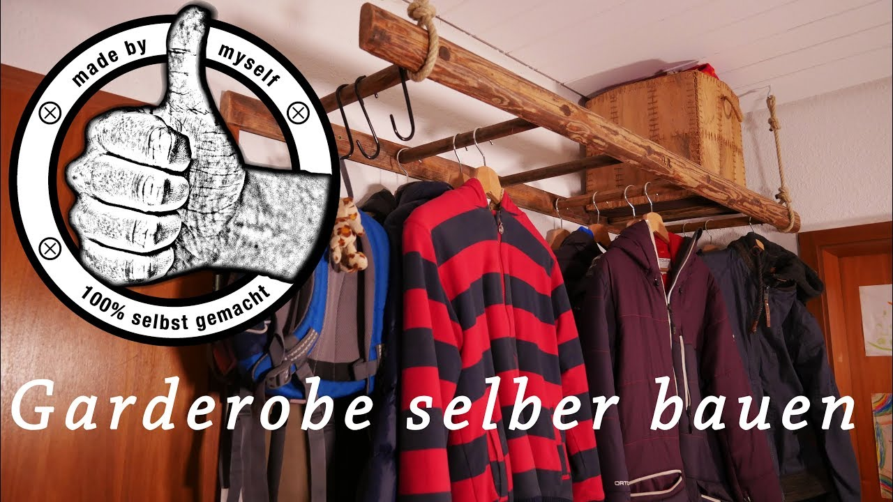 garderobe selber bauen aus alter leiter diy deko upcycling youtube. Black Bedroom Furniture Sets. Home Design Ideas