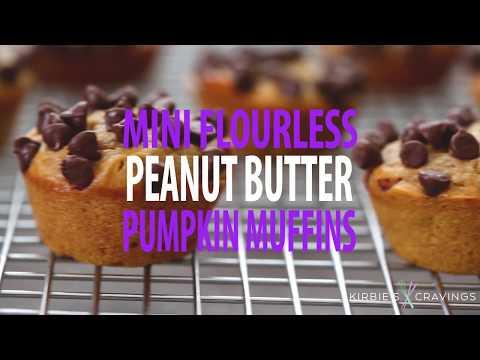 Mini Flourless Peanut Butter Pumpkin Muffins