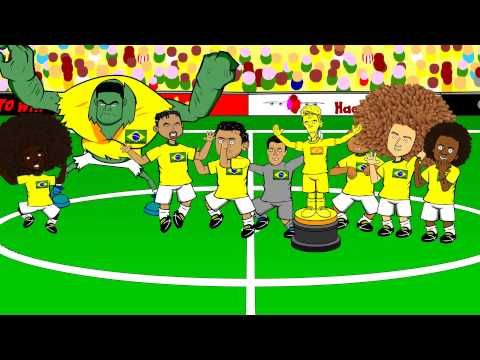DAVID LUIZ FREE-KICK vs Colombia 2-1 by 442oons (Brazil Rodriguez grasshopper cartoon)