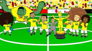 DAVID LUIZ FREE-KICK vs Colombia 2-1 by 442oons (Brazil Rodriguez grasshopper cartoon)