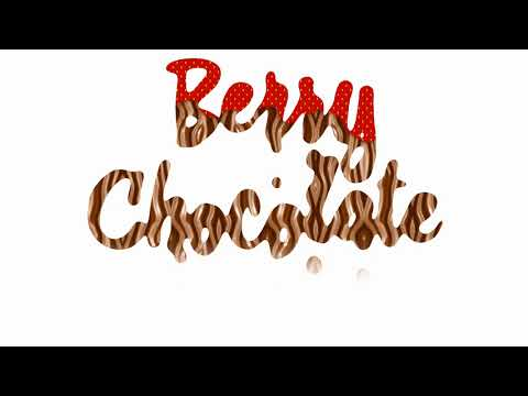 Strawberry chocolate text animation chocolate drops