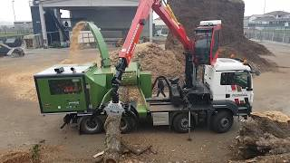 PTH 1000/1000 M Pezzolato drum wood chipper driven by SCANIA DC16 motor, 656 Hp