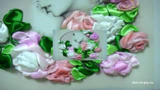 Вышивка лентами для начинающих.  Розы.  Домашняя школа шитья
