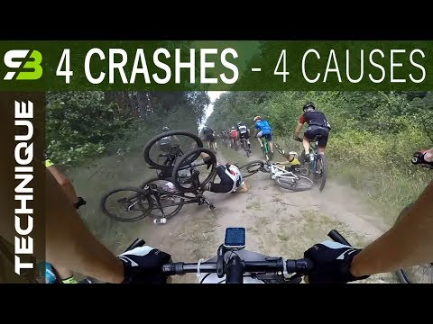 4 MTB Crashes - 4 Causes. How To Avoid Crashes On Mountain Bike Races.