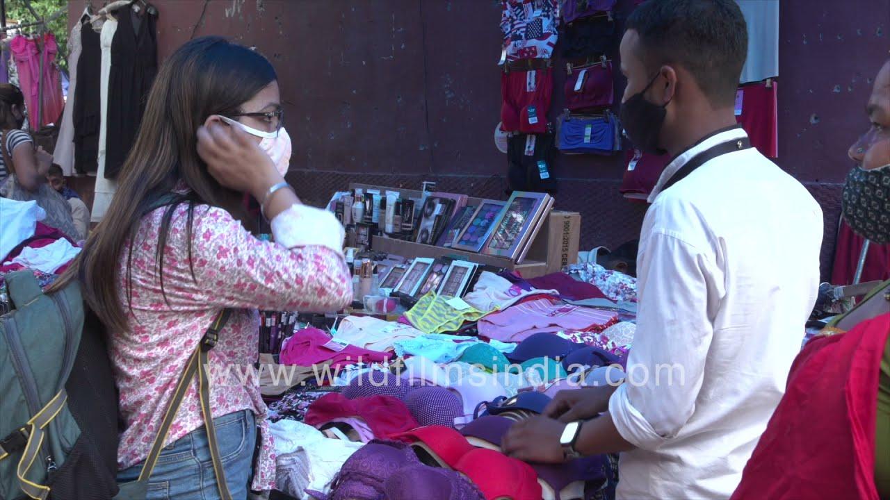 Lingerie stalls in a lane in Sarojini Market: women's inner-wear gets sold on the roadside in India