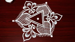 simple kolam designs with 5x3 dots * beautiful flower muggulu designs * latest easy rangoli designs