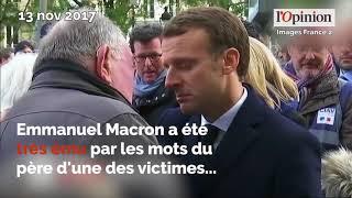 Attentats du 13 novembre 2015: l'immense émotion du couple Macron