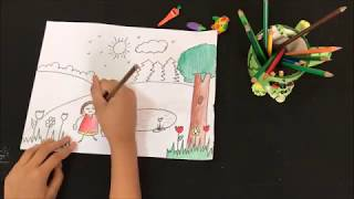 How to draw a garden for kids | landscape | simple  easy drawing for kids