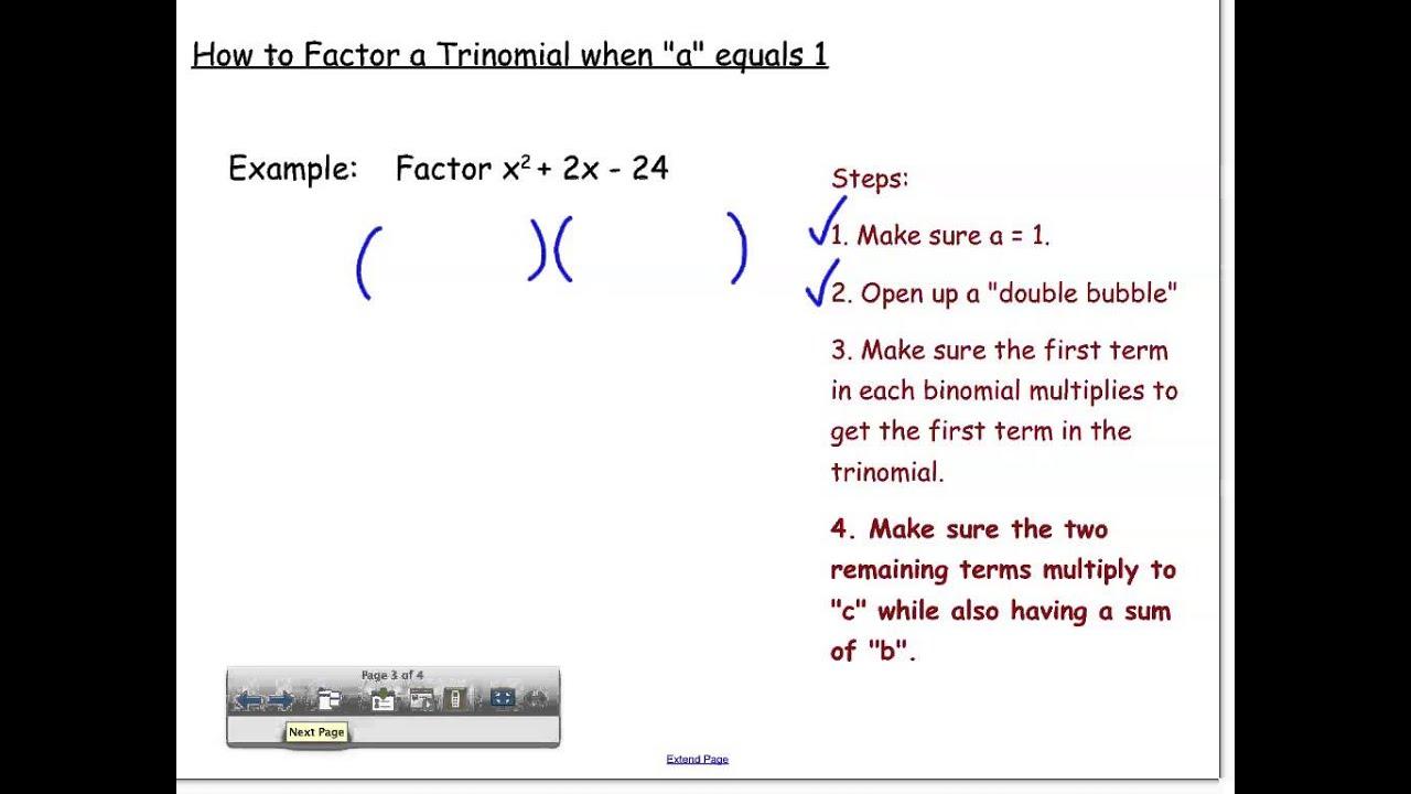 Factoring Trinomials When A = 1