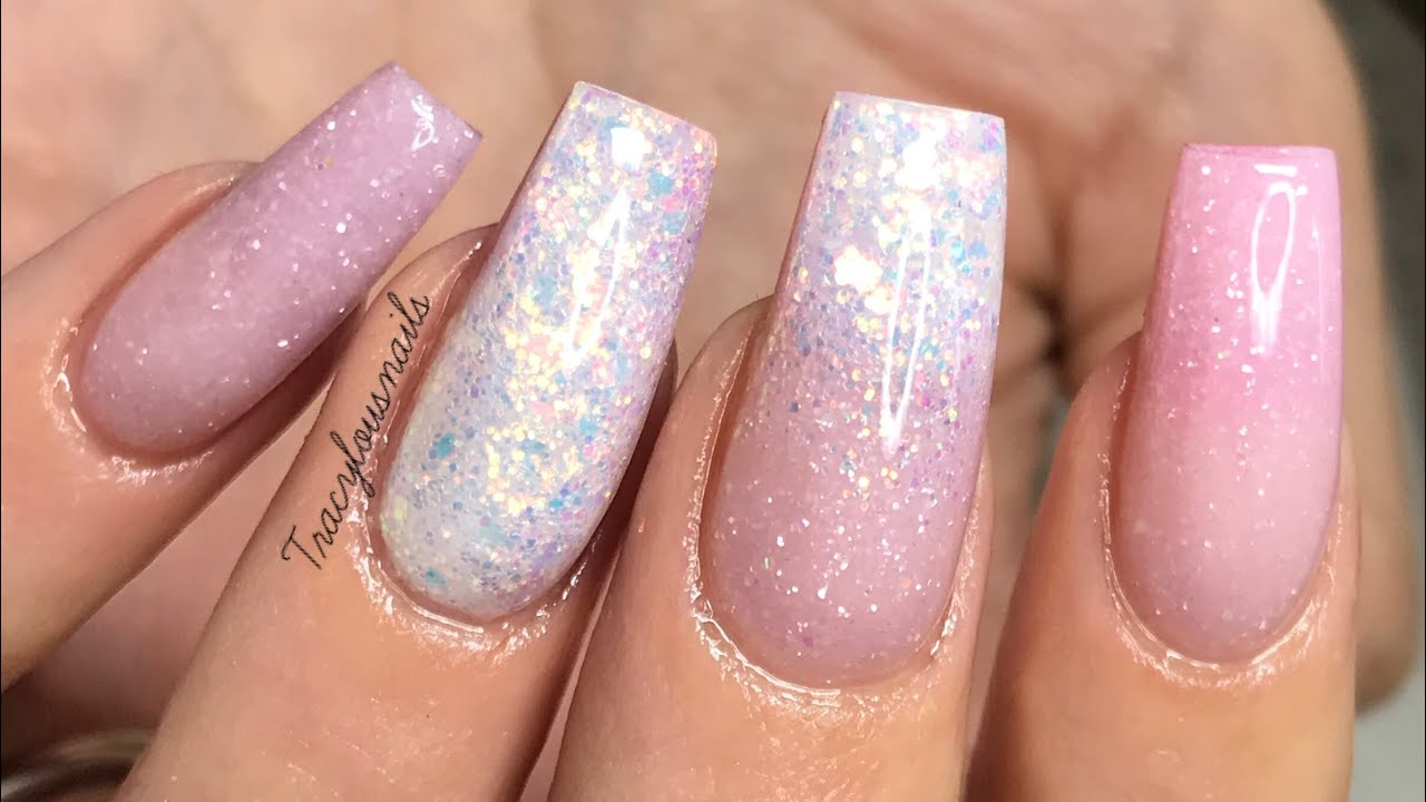 GLITTERY BABY PINK NAILS | ACRYLIC NAILS | REDESIGN - YouTube