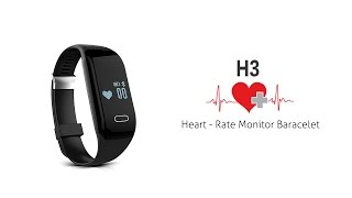 h3 smart bracelet with display call sms reminder pedometer mileage sleep heart rate monitor
