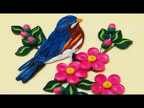 quill Paper  | How To Make Beautiful Blue Bird | Paper Quilling Art